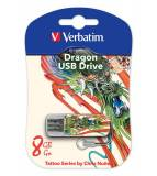 Флеш Диск Verbatim 8Gb Store n Go Mini Tattoo Dragon 49884 USB2.0 белый/узор
