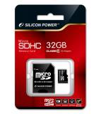 Флеш карта microSDHC 32Gb Class4 Silicon Power SP032GBSTH004V10-SP + adapter