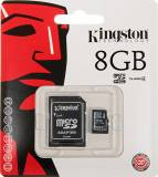 Флеш карта microSDHC 8Gb Class4 Kingston SDC4/8Gb + adapter