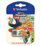Флеш Диск Verbatim 16Gb Store n Go Mini Tattoo Edition Phoenix 49887 USB2.0 белый/рисунок