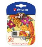 Флеш Диск Verbatim 8Gb Store n Go Mini Tattoo Koi 49882 USB2.0 белый/узор